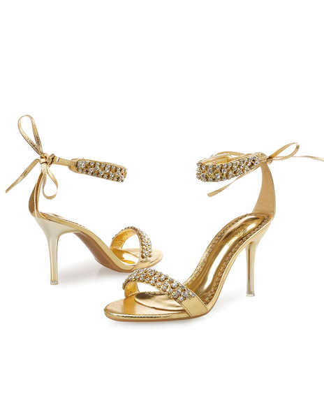 Gold Dress Sandals High Heel Rhinestone Beaded Ankle Strap Sandal Shoes For Women