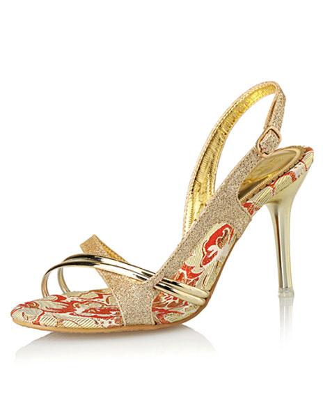 Gold Dress Sandals High Heel Glitter Criss Cross Stiletto Heel Sandal Shoes