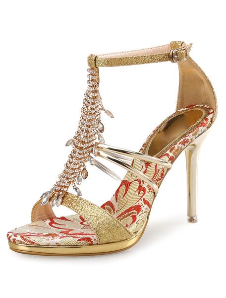 Glitter Dress Sandals High Heel Women's Gold Rhinestones Beaded T Type Bandage Ankle Strap Sandal Sh