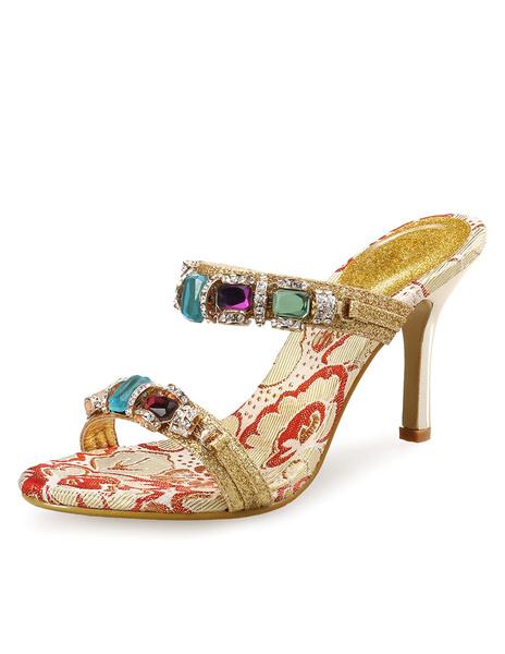 Gold Dress Sandals Sequined Rhinestones Beaded Backless Sandal Slippers For Women