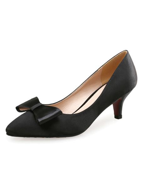 Pointed Toe Heels Kitten Heel Women's Black Satin Bow Slip On Pumps фото