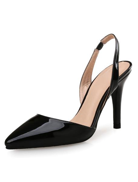Black High Heels Women's Pointed Toe Slingbacks Stiletto Heel Pumps фото