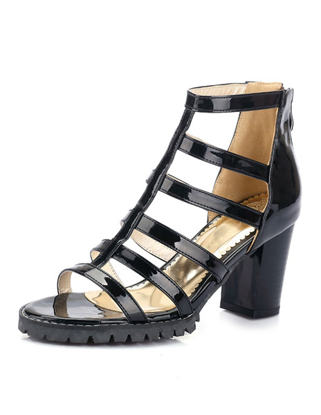 White Gladiator Sandals Open Toe High Heels Women's Chunky Heel Cut Out Strappy Summer Shoes