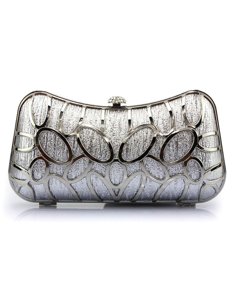 Silver Evening Handbags Cut Out Pillow Shaped Snap Wedding Clutch Bags фото