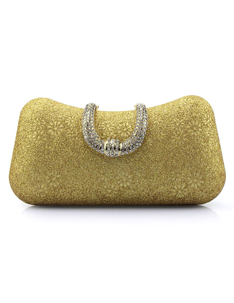 Wedding Clutch Bags Gold Sequined Rhinestones Floral Print Pillow Shaped Bridal Evening Bags With De