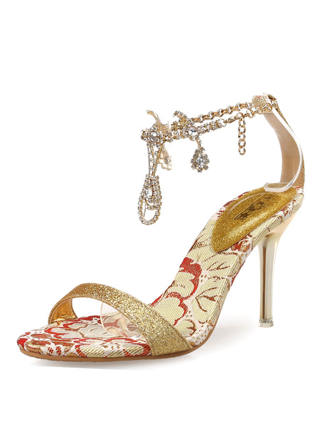 Gold Dress Sandals Glitter Rhinestones Beaded Ankle Strap High Heel Sandal Shoes фото