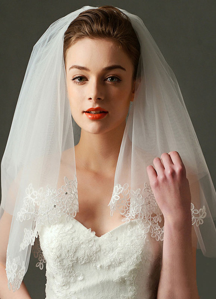 Comb Wedding Veil Tulle Ivory Lace Applique 2 Tier Bridal Veil