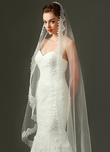 Ivory Wedding Veil Tulle Oval Lace Applique Edge Bridal Veil