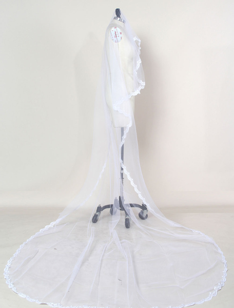 Tulle Wedding Veil Cathedral White Oval Lace Applique Edge One Tier Bridal Veil