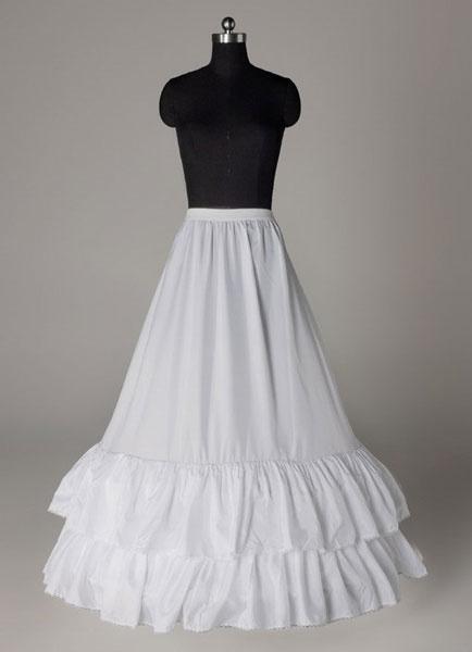 White Long Petticoats Taffeta A Line Ruffle Two Tier Boneless Wedding Petticoats фото