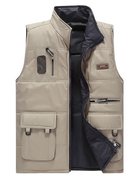 Men's Winter Vest Jacket Khaki Zipper Pockets Casual Fly Fishing Vest фото