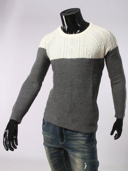 Milanoo / Herren Pullover Pullover Langarm tiefblauen Kontrast Farbe stricken Pullover