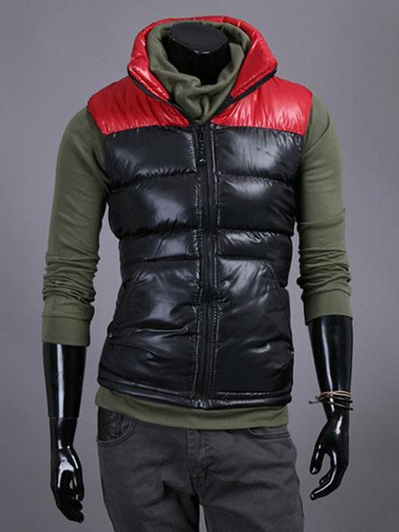 Красные Мужские жилеты с высоким воротником цвет блока ПВХ регулярные Fit жилет пальто