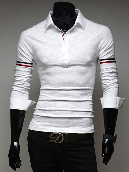 White Polo Shirts Long Sleeve Men's Slim Fit Arm Striped Cotton T Shirt
