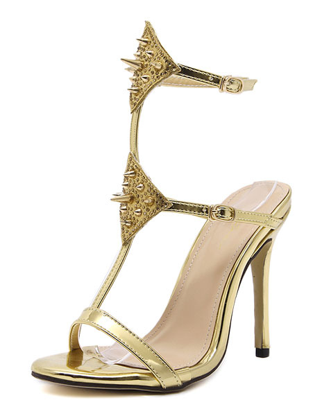 High Heel Sandals Gold T-Type Bandage Rivet Beaded Ankle Strap Stiletto Heel Dress Sandals фото