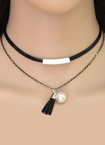 Choker Halskette Quaste Perle Anhänger Frauen Doppelstrang geschichteten Gliederkette