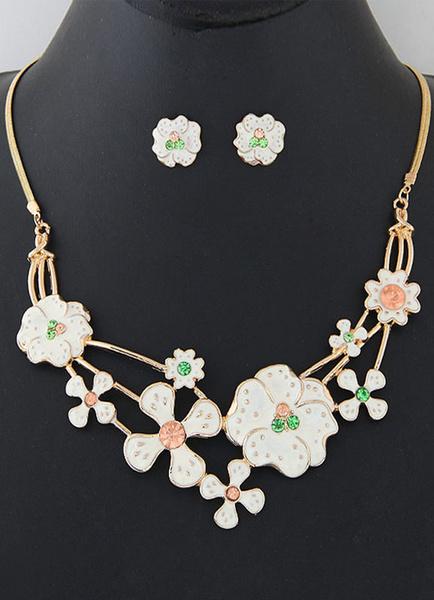 Золото комплект ювелирных изделий стразы бисера колье цветы женские серьги