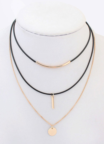 Gold Layered Necklace Chain Triple Strand Women's Choker Necklace Milanoo
