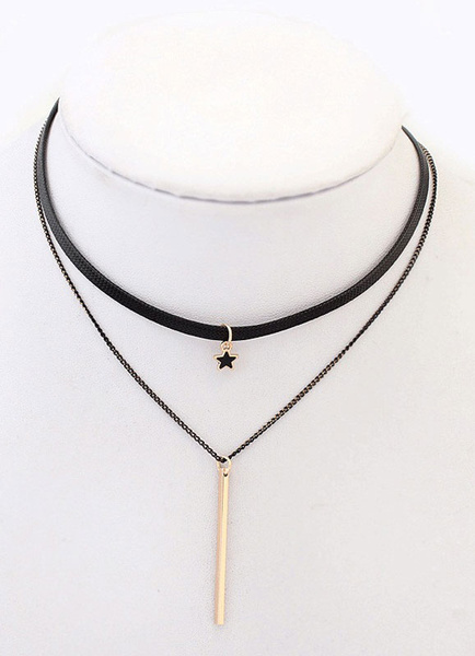 Chain Choker Necklace Black Double Strand Layered Pendant Necklace Milanoo