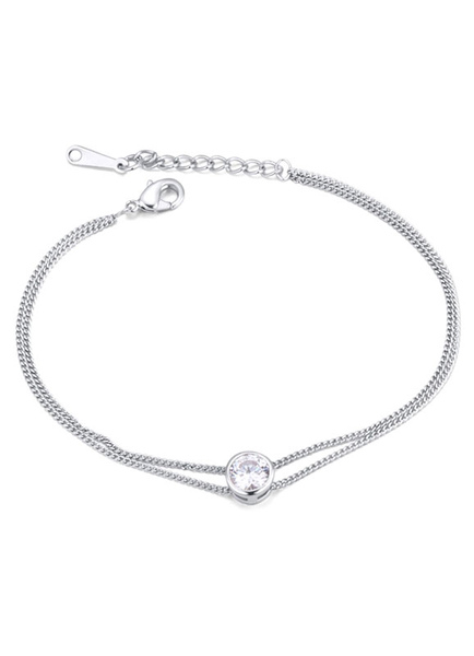 Women's Silver Bracelet Zirconia Double Chain Bracelet Jewelry фото