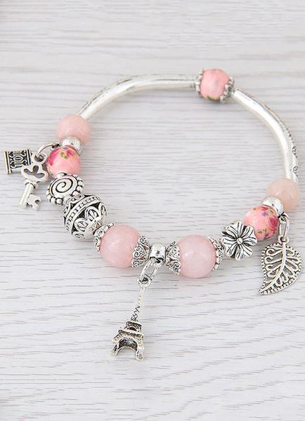Women's Charm Bracelet Beaded Eiffel Tower Pendant Light Pink Bracelet фото