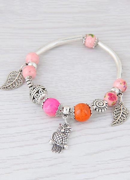 Damen Charm Armband Blatt Eule Anhänger Perlen Armband