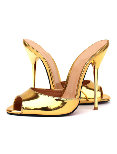 Gold Mule Sandals High Heel Women's Peep Toe Stiletto Heel Summer Slippers
