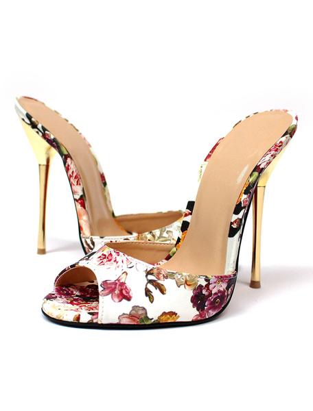 White Mule Sandals High Heel Women's Peep Toe Floral Printed Stiletto Heel Slippers