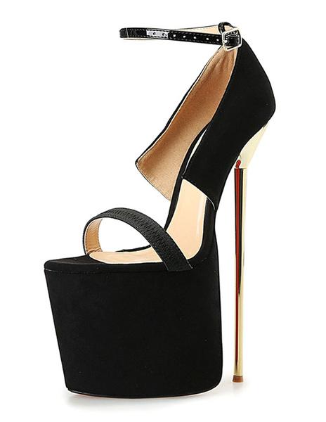 Black Sexy Sandals Platform High Heel Women's Stiletto Heel Ankle Strap Sandal Shoes