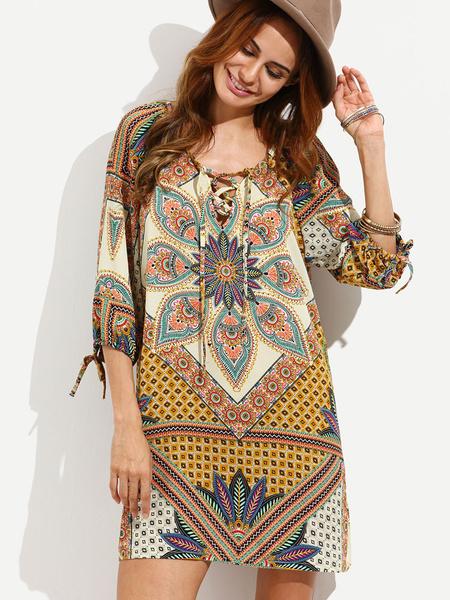 Boho Cover Up Plus Size Chiffon Apricot Round Neck 3/4 Length Sleeve Lace Up Printed Beach Swimwear фото
