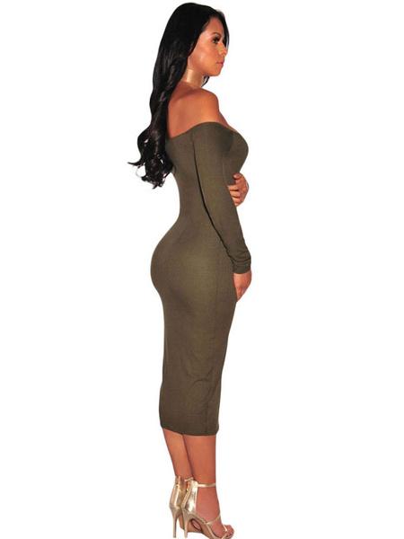 Milanoo / Black Bodycon Dress Sexy Off The Shoulder Button Midi Dress For Women