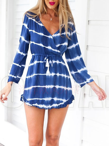 Short Bohemian Dress Lace Patchwork Long Sleeve Blue Striped V Neck Flare Beach Dress With Drawstrin фото