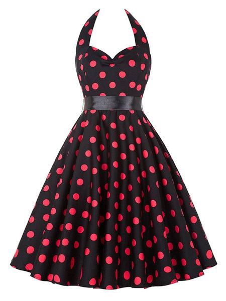 Black Vintage Dress Halter Polka Dot Printed Women's Sweetheart Pleated Retro Dress фото