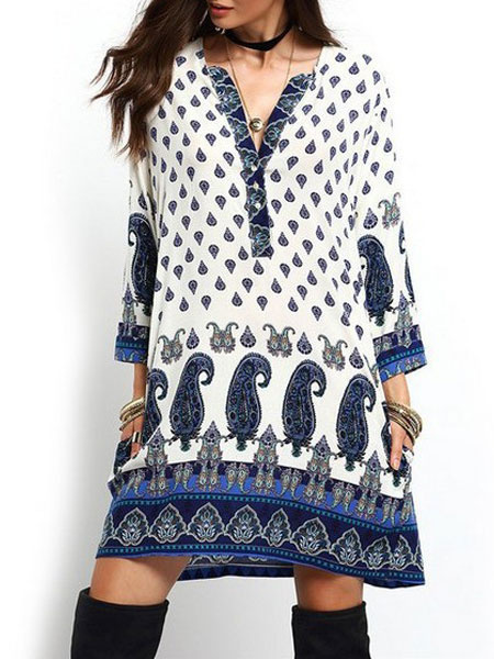 Boho Dress Women's V Neck Paisley Printed Long Sleeve Oversize Beach Dress фото