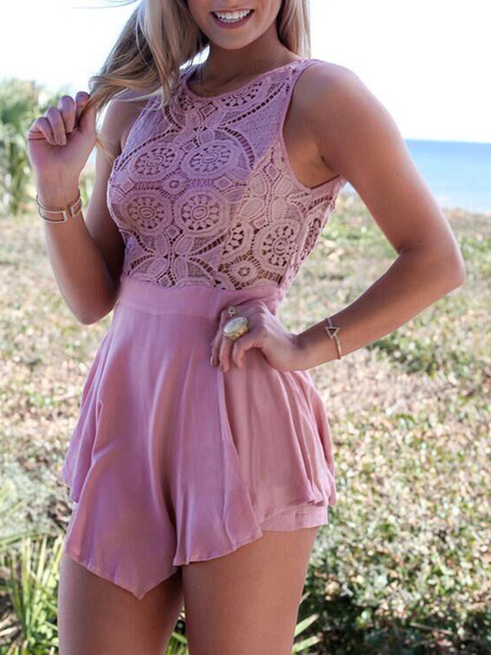 Pink Lace Jumpsuit Short Backless Women's Sleeveless Patchwork Round Neck Rompers