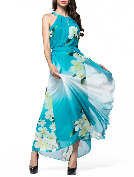 Chiffon Maxi Dress Printed Sleeveless Jewel Neck Long Summer Dress фото