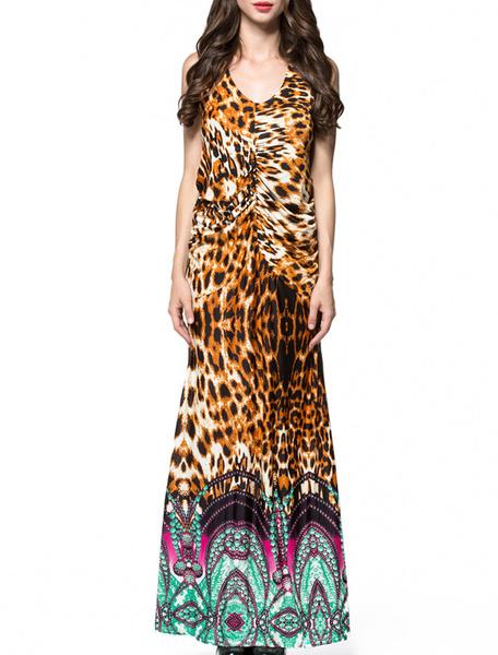 Boho Long Dress Leopard Print Backless V Neck Short Sleeve Maxi Dress, Coffee brown
