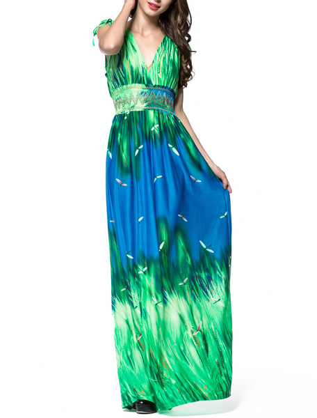 Plunge Maxi Dress Printed Two Tone Sleeveless Long Summer Dress фото