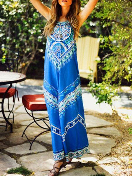 Boho Maxi Dress Blue Halter Sleeveless Printed Backless Long Dress For Women