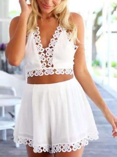 Crop Top And Shorts Set 2 Piece White Sexy Summer Outfits For Women