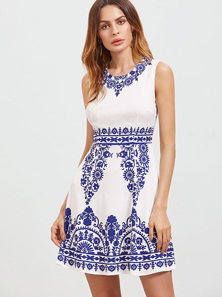 Blue Vintage Dress Women's Round Neck Sleeveless Printed Short Dress