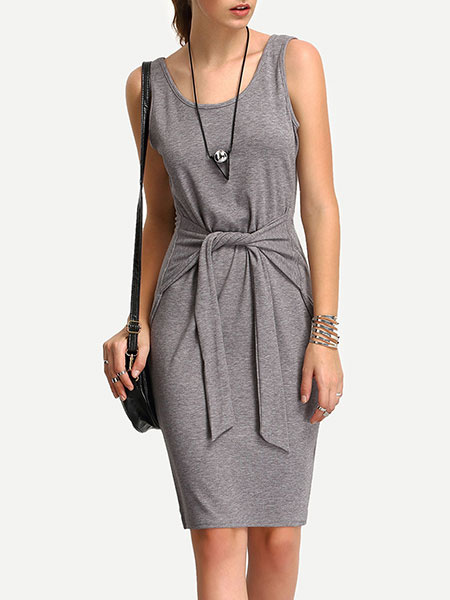 Grey Bodycon Dress Round Neck Sleeveless Lace Up Slim Fit Sheath Dress For Women