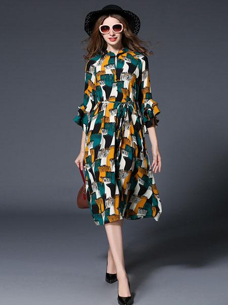 Women's Chiffon Dress Multicolor Stand Collar Ruffle 3/4 Length Sleeve Lace Up Long Dress фото
