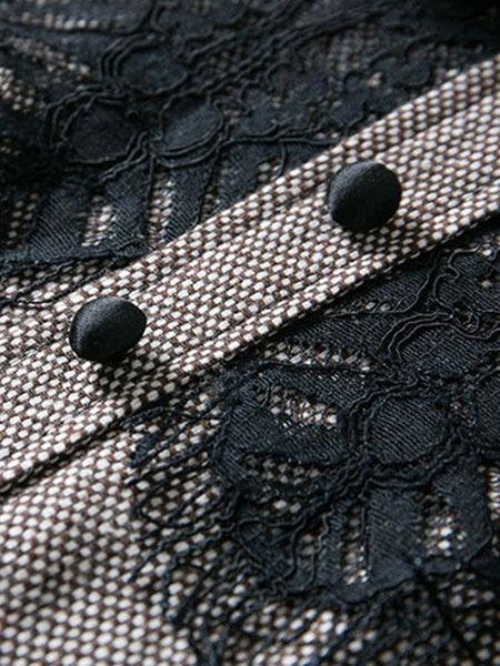 Milanoo / Vestido Vintage gris cuello Peter Pan manga larga encaje detalle plisado vestido Skater