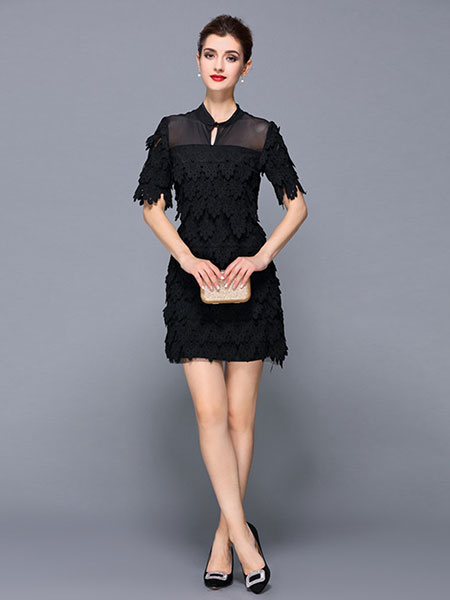 Black Party Dress Lace Stand Collar Short Sleeve Slim Fit Short Dress For Women фото