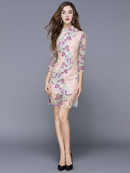 Vestido Vintage rosa tul Cheongsam Stand Collar media manga vestido Fit Slim bordado Milanoo
