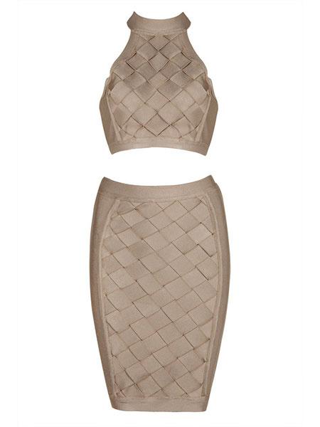 Khaki Skirt Set Women's Halter Sleeveless Cut Out Crop Top With Bodycon Skirt Milanoo