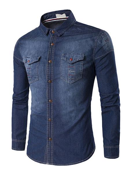 Deep Blue Denim Shirt Men's Turndown Collar Long Sleeve Slim Fit Casual Shirt фото