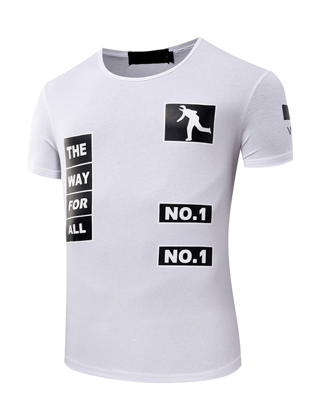White T Shirt Men's Short Sleeve Round Neck Printed Casual Top