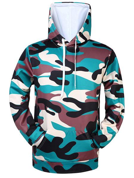 Men's Pullover Sweatshirt Hooded Long Sleeve Drawstring Regular Fit Cotton Hoodie фото